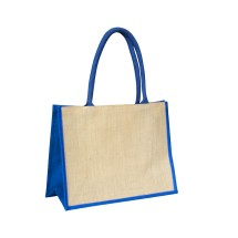 EJ-202 Jute Shopper Bag Natural With Blue Gusset Image