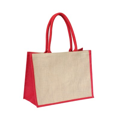 EJ-202 Jute Shopper Bag Natural With Red Gusset Image