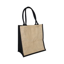 EJ-209 Jute Supermarket Bag Natural With Black Gusset Image