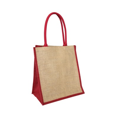 EJ-209 Jute Supermarket Bag Natural With Red Gusset Image