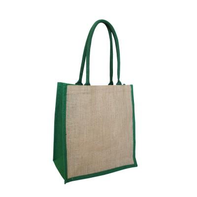 EJ-209 Jute Supermarket Bag Natural With Green Gusset Image