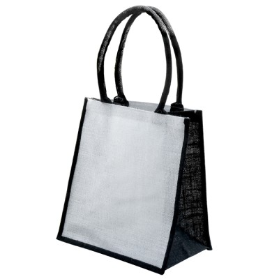 EJ-209 Jute Supermarket Bag Cream With Black Gusset Image