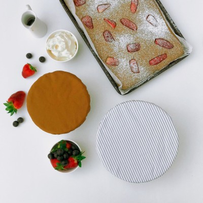 MUSTARD & GREY STRIPES | Reusable bowl cover set of 2 Image