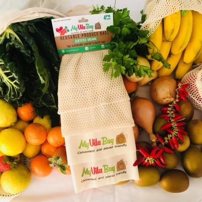 Reusable Organic Produce + Bulk Bin Bags – Large 4 PK Image