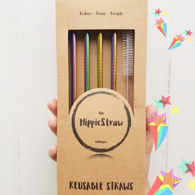 HIPPIESTRAW Reusable Rainbow Straws – 4 Pack + Cleaner Image