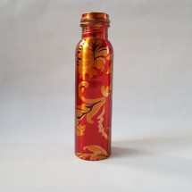 Copper Water Bottle Red Gold Floral