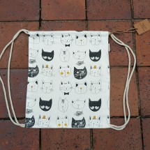 Cartoon Cat Drawstring/ Backpack Bag