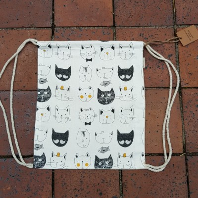 Cartoon Cat Drawstring/ Backpack Bag Image