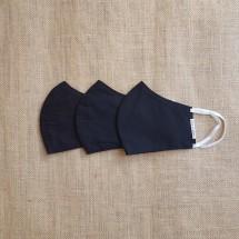 Face Mask Cotton All Black Set of 3 Image