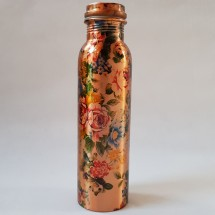 Copper Water Bottle Blue Rose