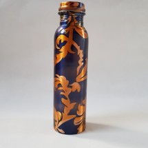 Copper Water Bottle Blue Gold
