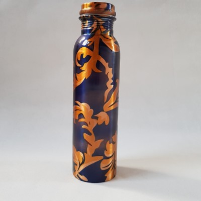 Copper Water Bottle Blue Gold Image
