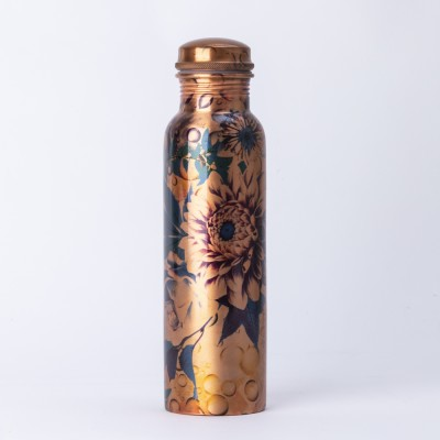 Copper Blue Chrysanthemum Water Bottle Image