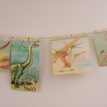 Cute Upcycled Book Bunting - Dinosaurs