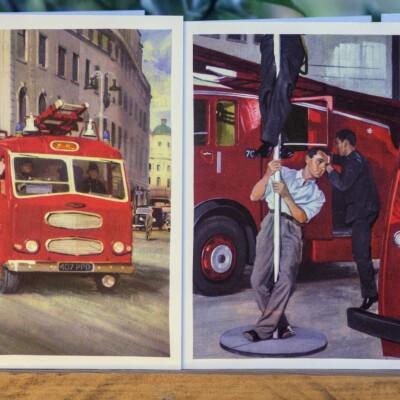 Upcycled Book Greeting Card Set – Ladybird The Fireman Image