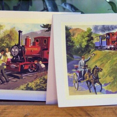 Upcycled Book Greeting Card Set – The Little Old Engine Image