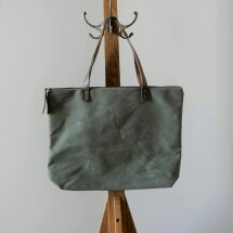 Waxed Canvas Zipped Tote