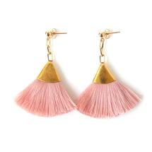 GOLD TASSEL EARRING | PINK Image