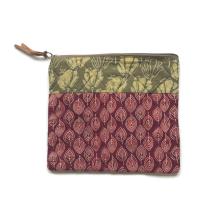 Maroon Leaf Cosmetic Bag