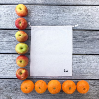 Set of 5 Reusable Natural Cotton Bags (25.5×30.5cm) Image