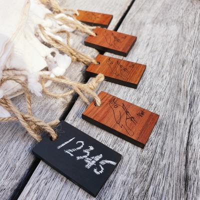 Set of 5 Wooden tags Reusable write-on tags  (Rimu) Image