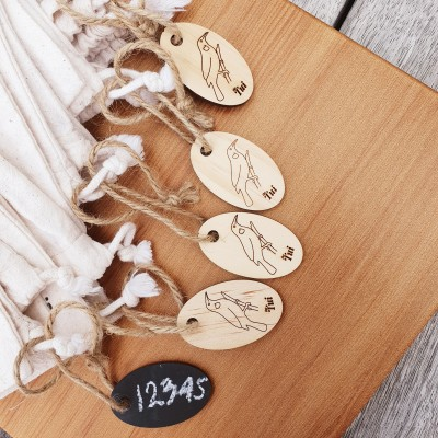 Set 0f 5 Wooden tags Reusable write-on Tags (Pine) Image