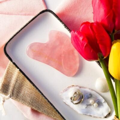 Rose Quartz Gua Sha facial massage crystal Image