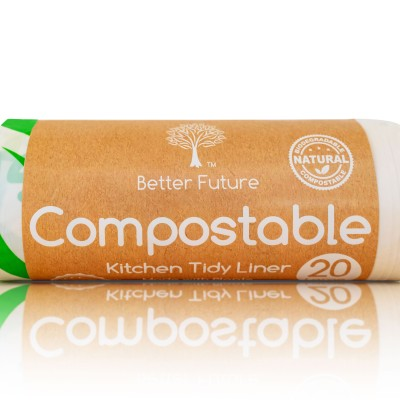 Extra Thick Compostable Kitchen Tidy Liner 27L-20 Bags Image