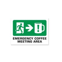 WOO104 Wooden Sign - Emergency Coffee A4