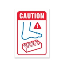 WOO011 Wooden Sign - Lego Warning A5