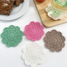 Crochet Flower Coasters (Set of 4) Image