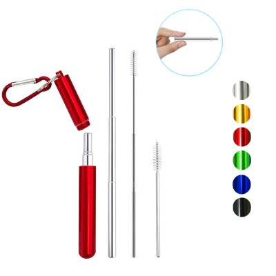 STAINLESS STEEL COLLAPSIBLE DRINKING STRAW SET Image