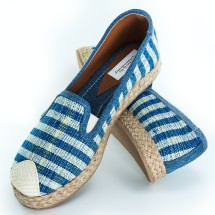 Blue And Yellow Striped Espadrilles - Hand Made