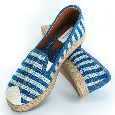 Blue And Yellow Striped Espadrilles – Hand Made Image