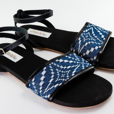 Hand Made Wrap Around Sandals -Blue Image