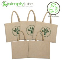 Natural Jute Shopping Bag - 5 Set- 100% Biodegradable