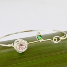 Rose & Leaf Bangle with Swarovski Crystals