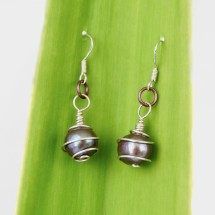 Eco Silver  Spiral wrapped Black Pearl Earrings