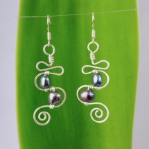 Squiggle & Spiral 2 Pearl Dangly Eco Earrings