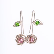 Rose drop earrings in eco Sterling Silver