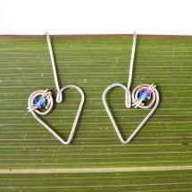 Koru Love Heart Drop Earrings with Swarovski Crystals