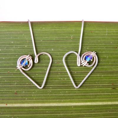 Koru Love Heart Drop Earrings with Swarovski Crystals Image