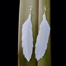 Repurposed Milk Bottle Feather Earrings