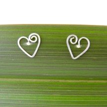 Koru Love Heart Stud Earrings