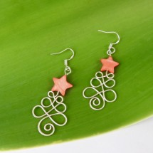 Eco Silver Christmas Tree earrings with Red Star