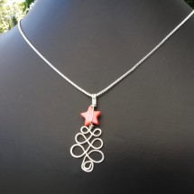 Christmas Tree Eco Necklace with Red Star