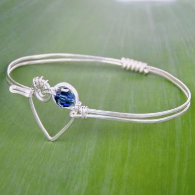Koru Love Heart Bangle with Swarovski Crystal Image