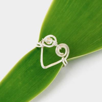 Koru Love Heart Ring with Swarovski Crystal Image