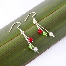 Christmas Drop Earrings in eco Argentium Silver