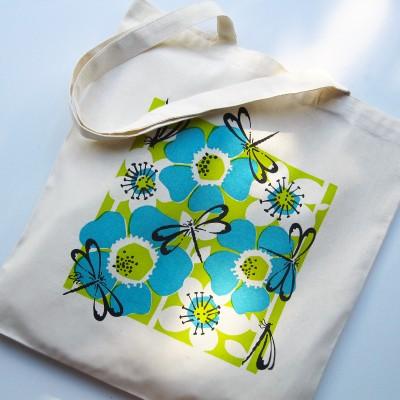 Eco Art Bag – Dragonfly (turquoise) Image